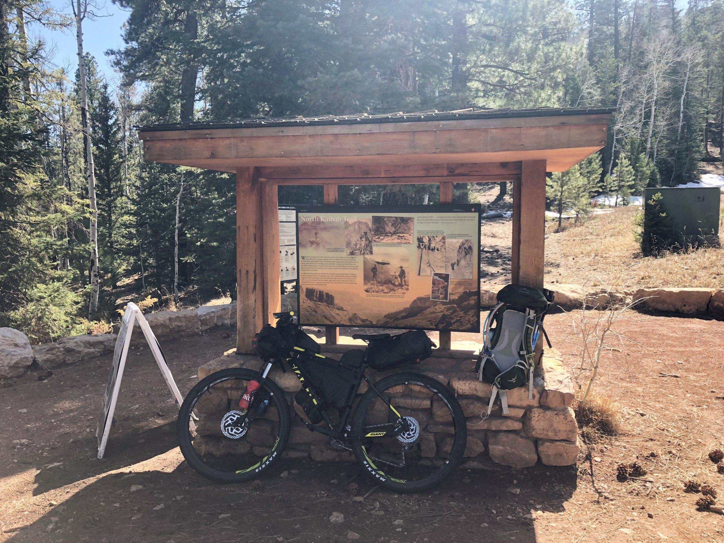 My bike and bag at the North Kaibab Trailhead