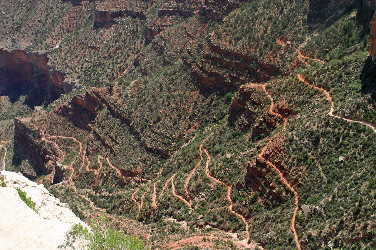 Some of the many switchbacks from Indian Garden - image via Wikipedia