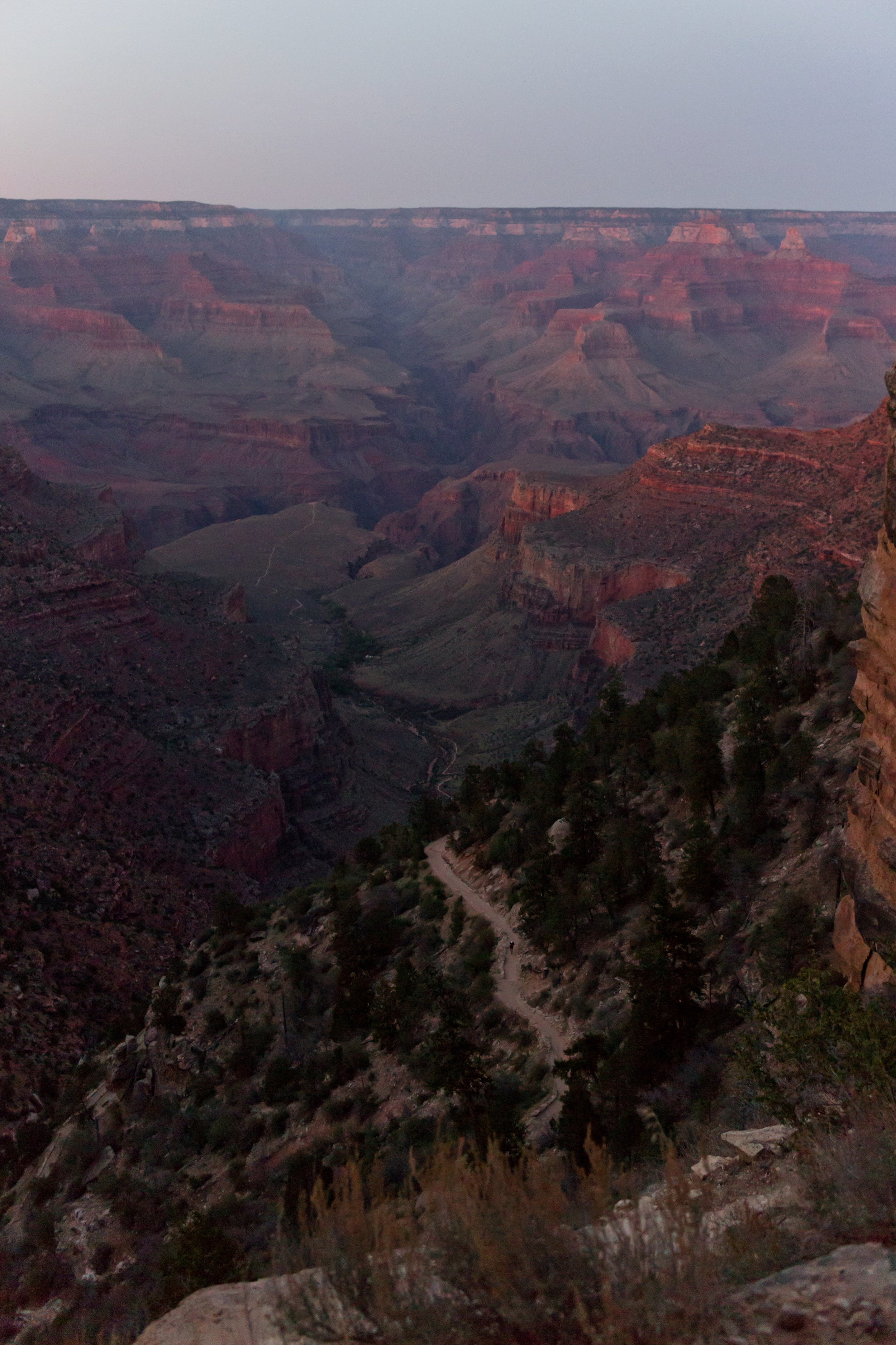One final look at the Grand Canyon at sunset - we came from left-center on the horizon.
