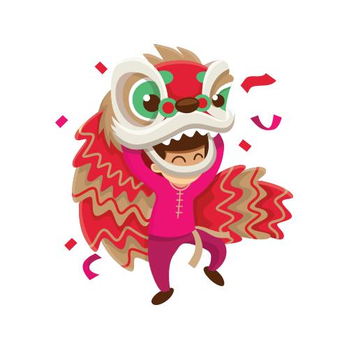 舞狮   穿着鲜艳多彩的舞狮服装的表演者,随着锣鼓节奏,模仿狮子的动作,祈盼好运与财富。