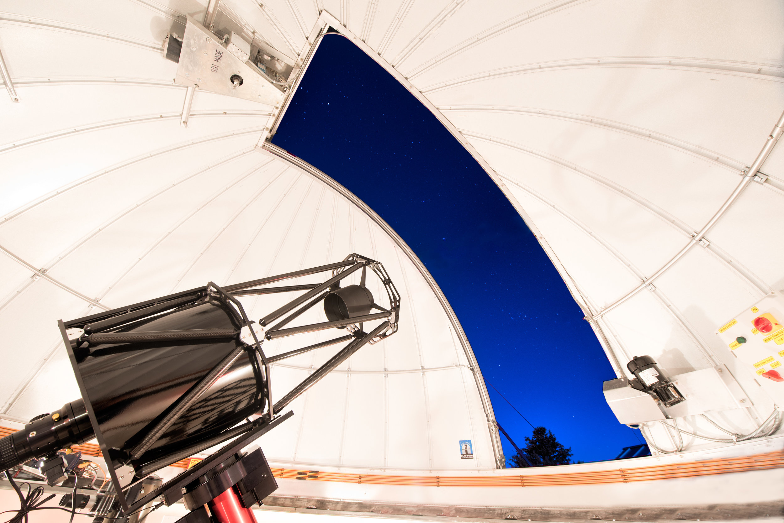 Under the Hood - The Observatory's 16-inch aperture Ritchey-Chretien style telescope is designed with hyperbolic shaped mirrors like the Hubble Space Telescope, which offer an exceptionally flat view of objects avoiding image distortions introduced by many other amateur telescopes. The telescope is perched on a precision-built Paramount mount which provides a great degree of accuracy while tracking celestial objects. With imaging equipment the observatory will excel at capturing colorful images of elusive deep sky objects including nebulae and distant galaxies.