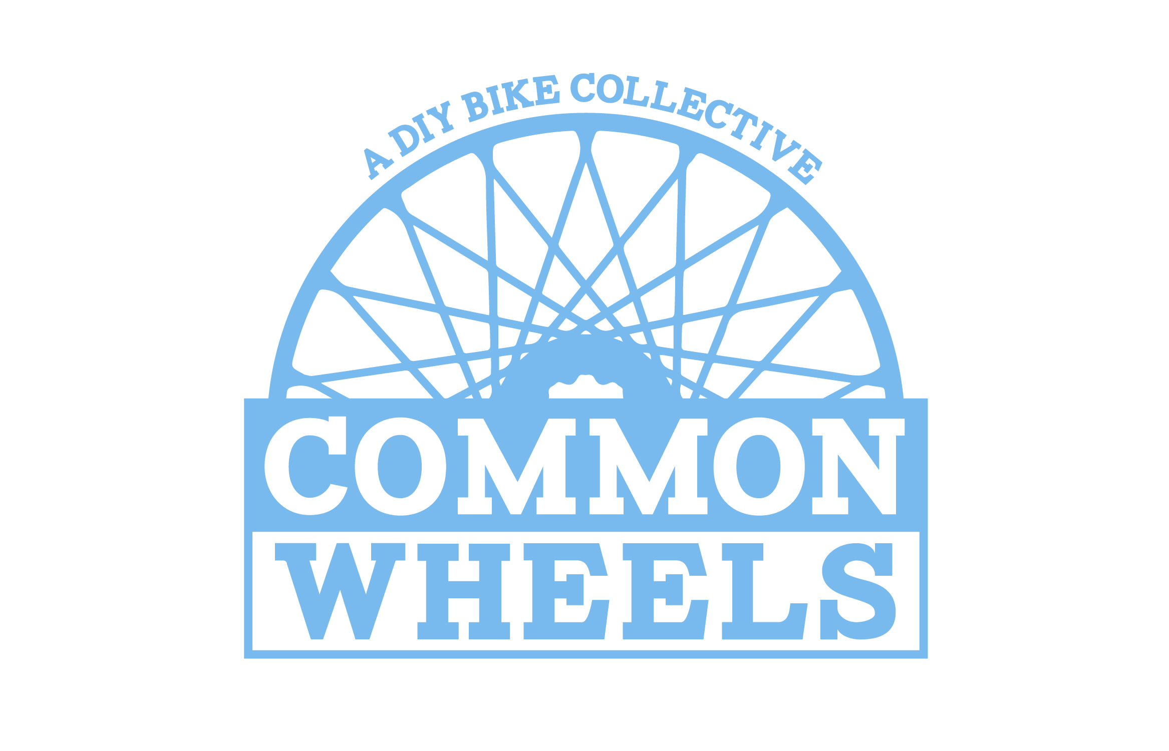 Common Wheels, a bicycle co-op that helps teach people to fix their own bikes, needed a logo facelift. We went from a mustachioed man with a unicycle to a modern retro look featuring the Boston city flag blue.