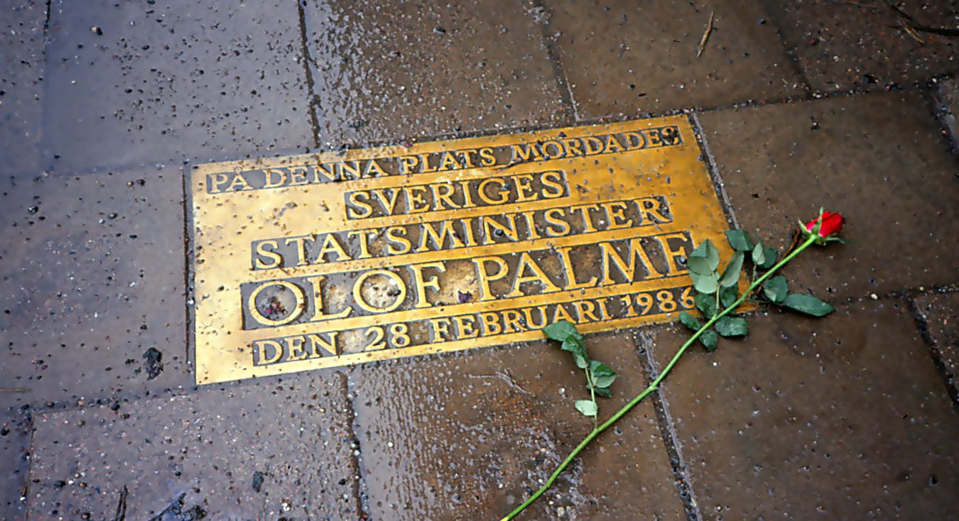 The memorial plaque of Olof Palme, at the scene where he was shot.