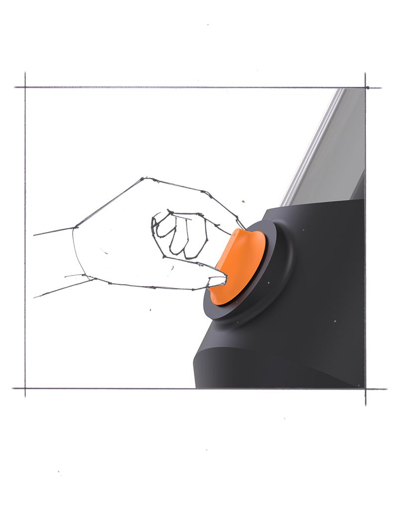 User adjusts hopper with knob
