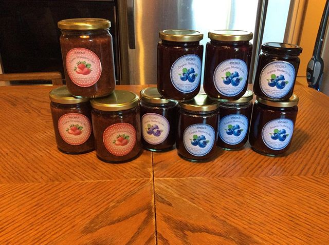 Strawberry and blueberry jam using our farm grown produce.