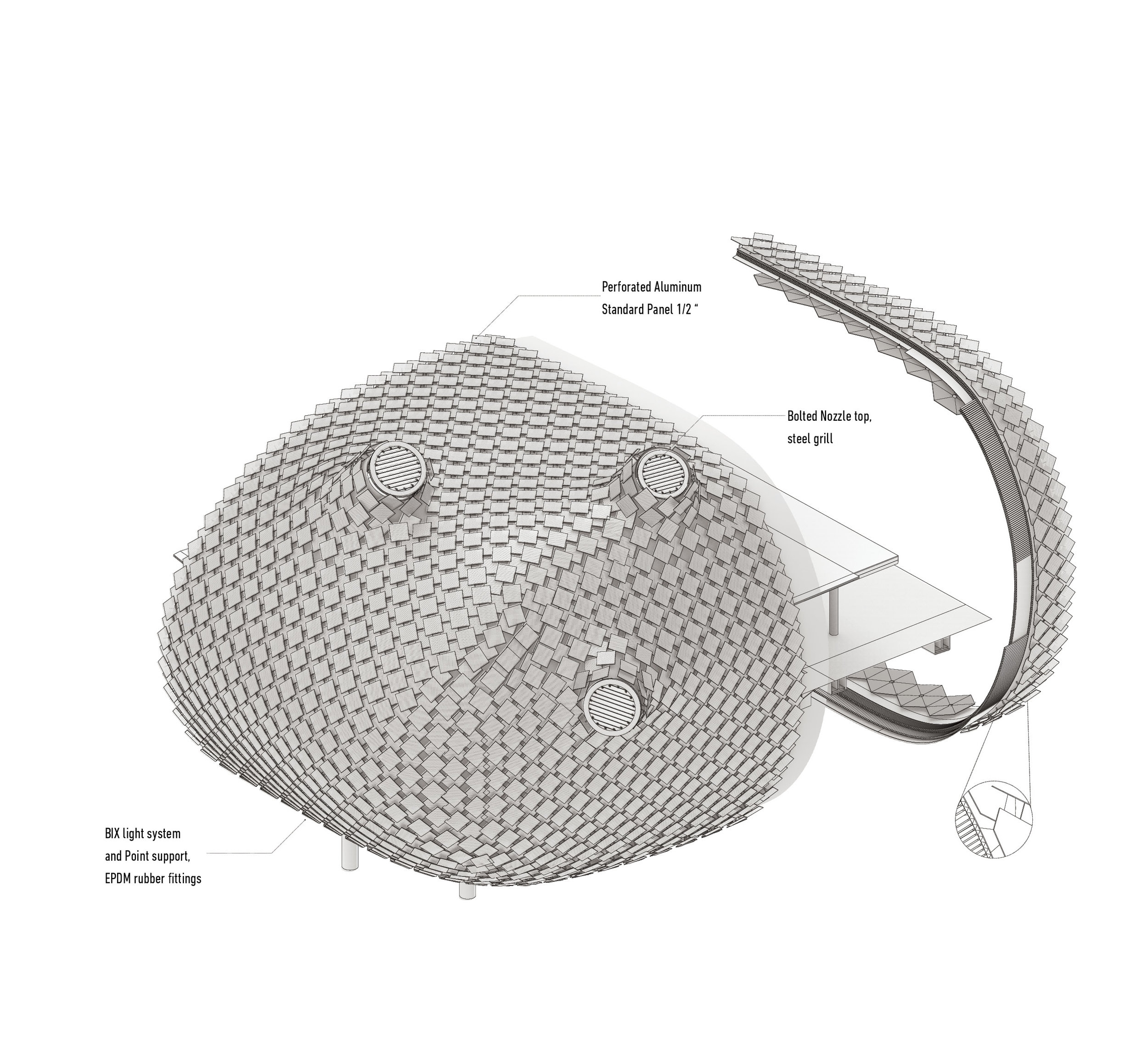 Precedent Tectonic Transformation   In the particular case of this transformation, the envelop system is layered with mesh, aluminum and stainless steel panel. The multiple material textures and sub system significantly alter the original case study.