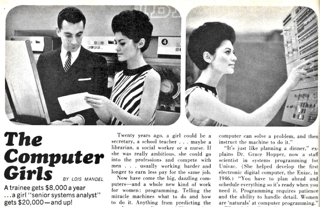 """Artículo de la revista Cosmopolitan en 1967 sobre mujeres que trabajan con tecnología: """"The Computer Girls"""". FOTO: Archivo Histórico The Cosmopolitan."""