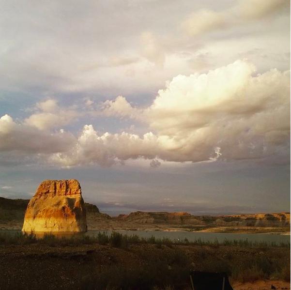 Lone rock beach campground outside of Page, Arizona.
