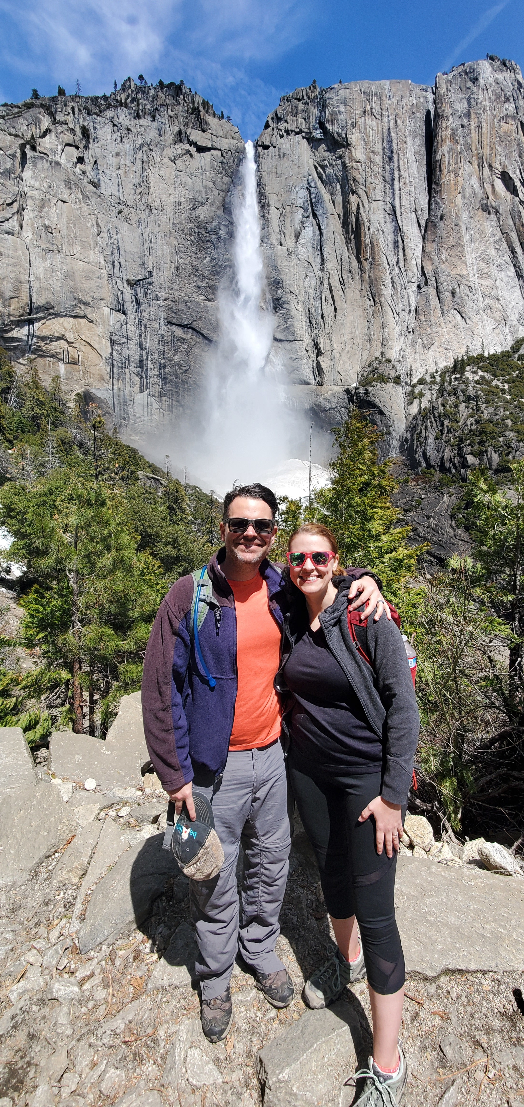Dr. Wetegrove-Romine arriving at the falls in Yosemite.
