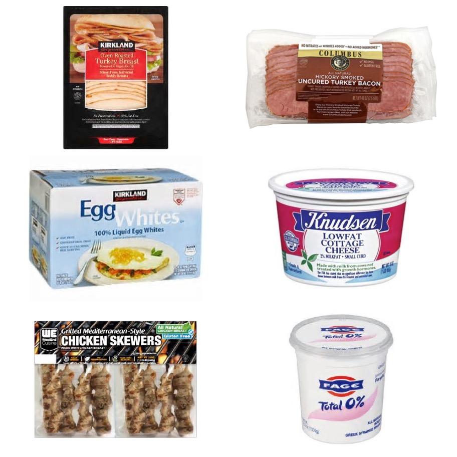 - 🦃Kirkland Sliced Oven Roasted Turkey Breast (2oz / 56g = F1 C1 P12)🥓Columbus Turkey Bacon (1 slice = F2 C0 P6)🥚Kirkland Signature Liquid Egg Whites (46g = F0 C0 P5)🧀Knudsen Lowfat 2% Cottage Cheese (119g = F2.5 C6 P11)🐔Grilled Mediterranean Chicken Skewers (2 skewers/ 100g = F4 C3 P24)🇬🇷Fage Total 0% Nonfat Greek Strained Yogurt (227g = F0 C9 P23)