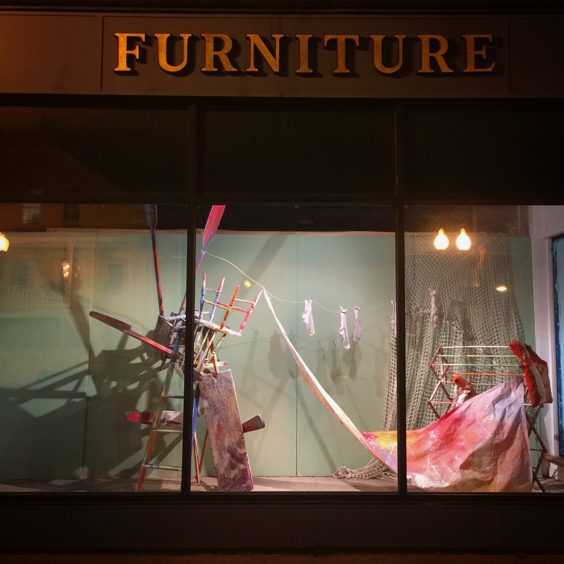 Window display. Marking Memories.  Old furniture store. Adams, MA .