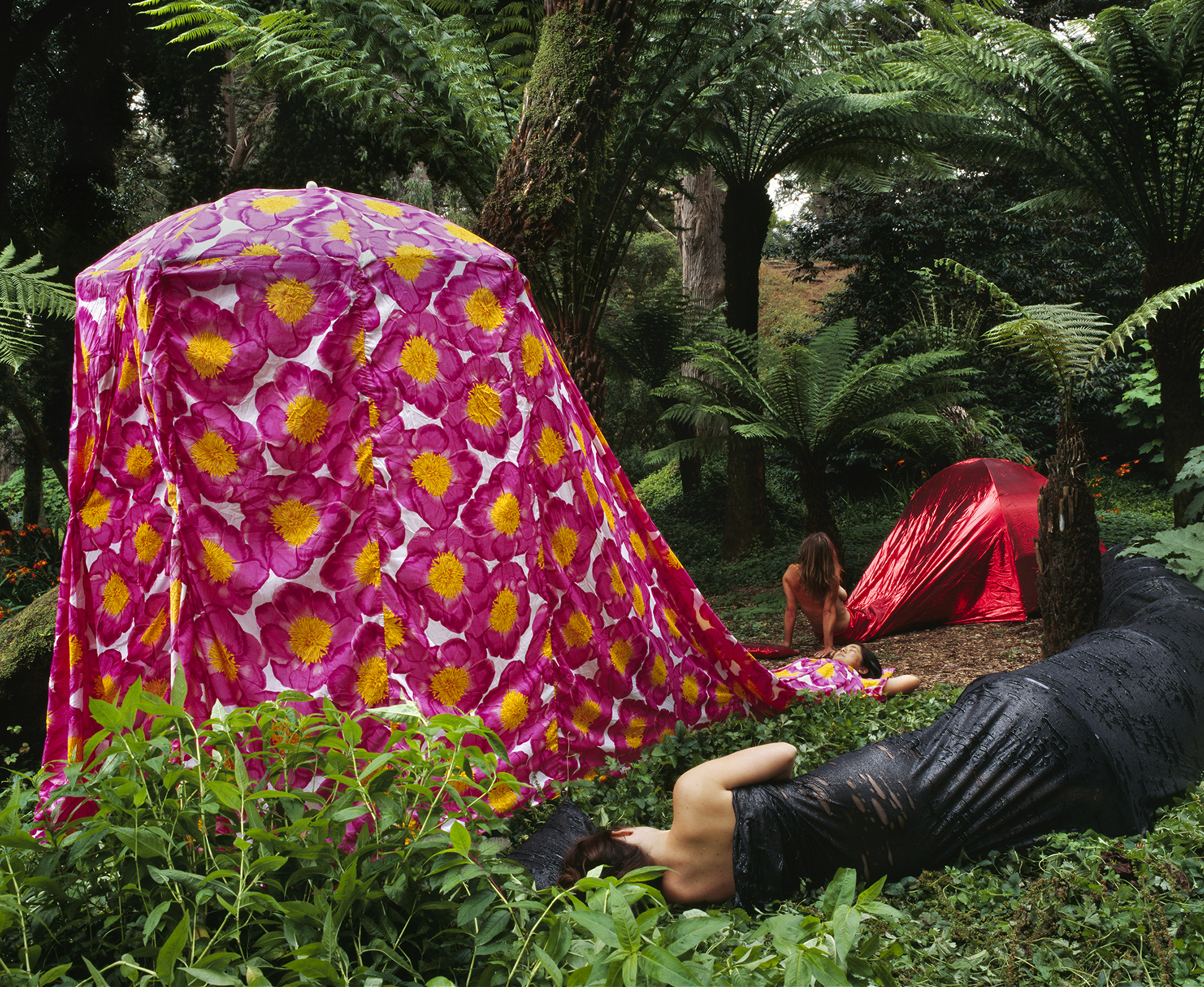 THREE DRESS TENTS CAMPING IN A FAUX HAWAIIAN RAINFOREST