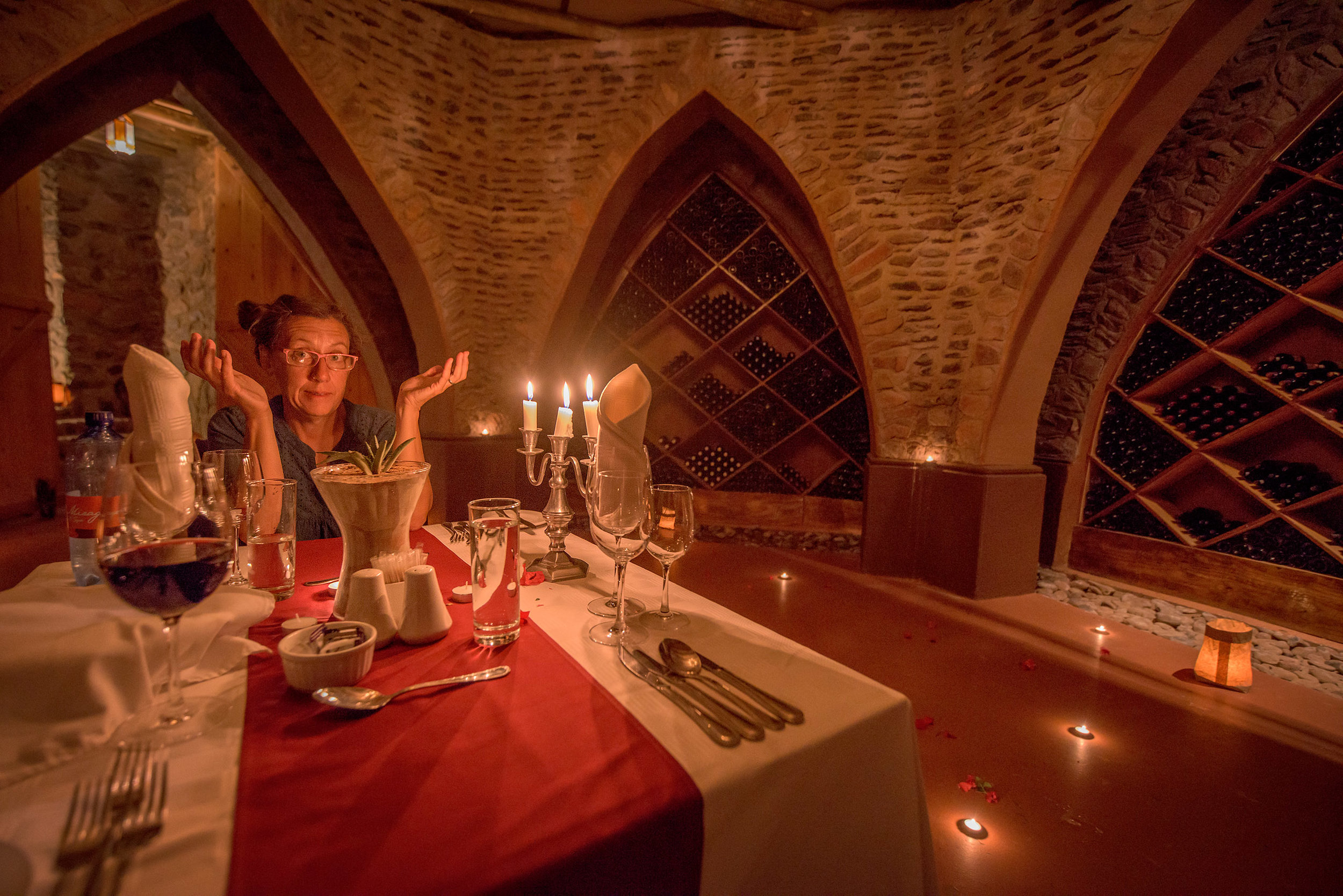 A romantic dinner for two in the cellar. Could we, uh, ... just borrow a corkscrew?