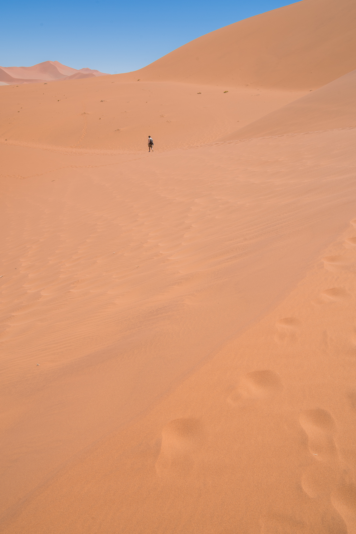 Donna hiking near Big Daddy Dune.