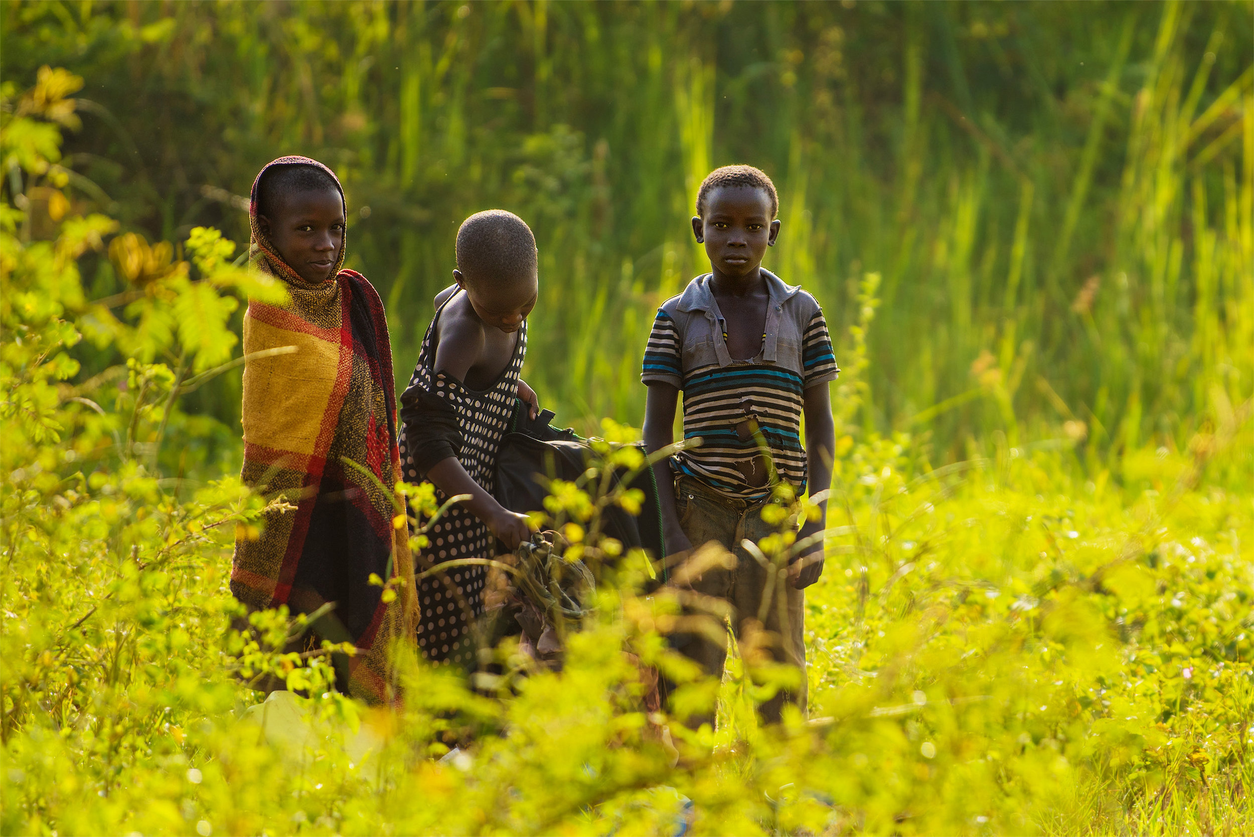 A trio of Ugandan children collect water in Lugogo Swamp.
