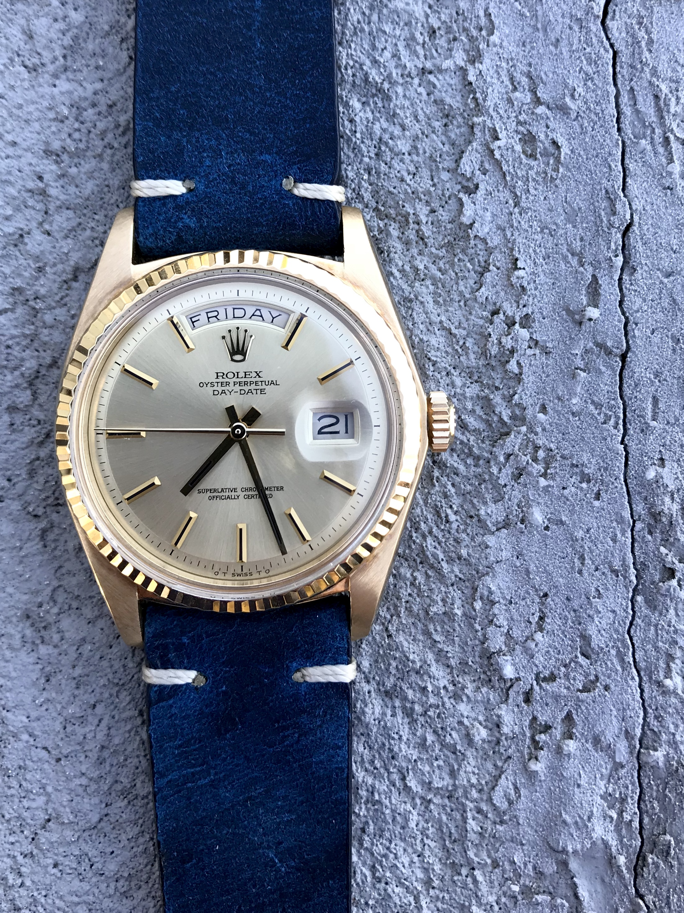 Rolex Day Date 1803 on Colareb Firenze Blue