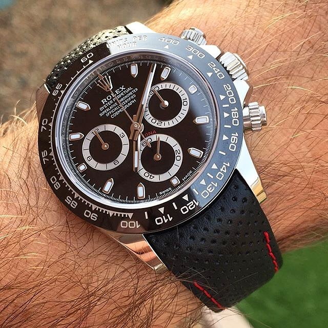 Everest Racing Black with Red Stitching on Rolex Daytona   https://www.watchvault.com.au/strapstore/everest-curved-end-racing-leather-strap-for-rolex-with-tang-buckle