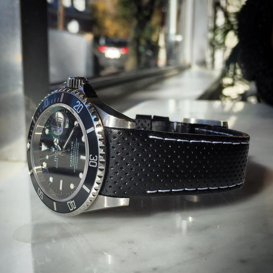 Everest Racing Black with White Stitching on Rolex Sub   https://www.watchvault.com.au/strapstore/everest-curved-end-racing-leather-strap-for-rolex-with-tang-buckle