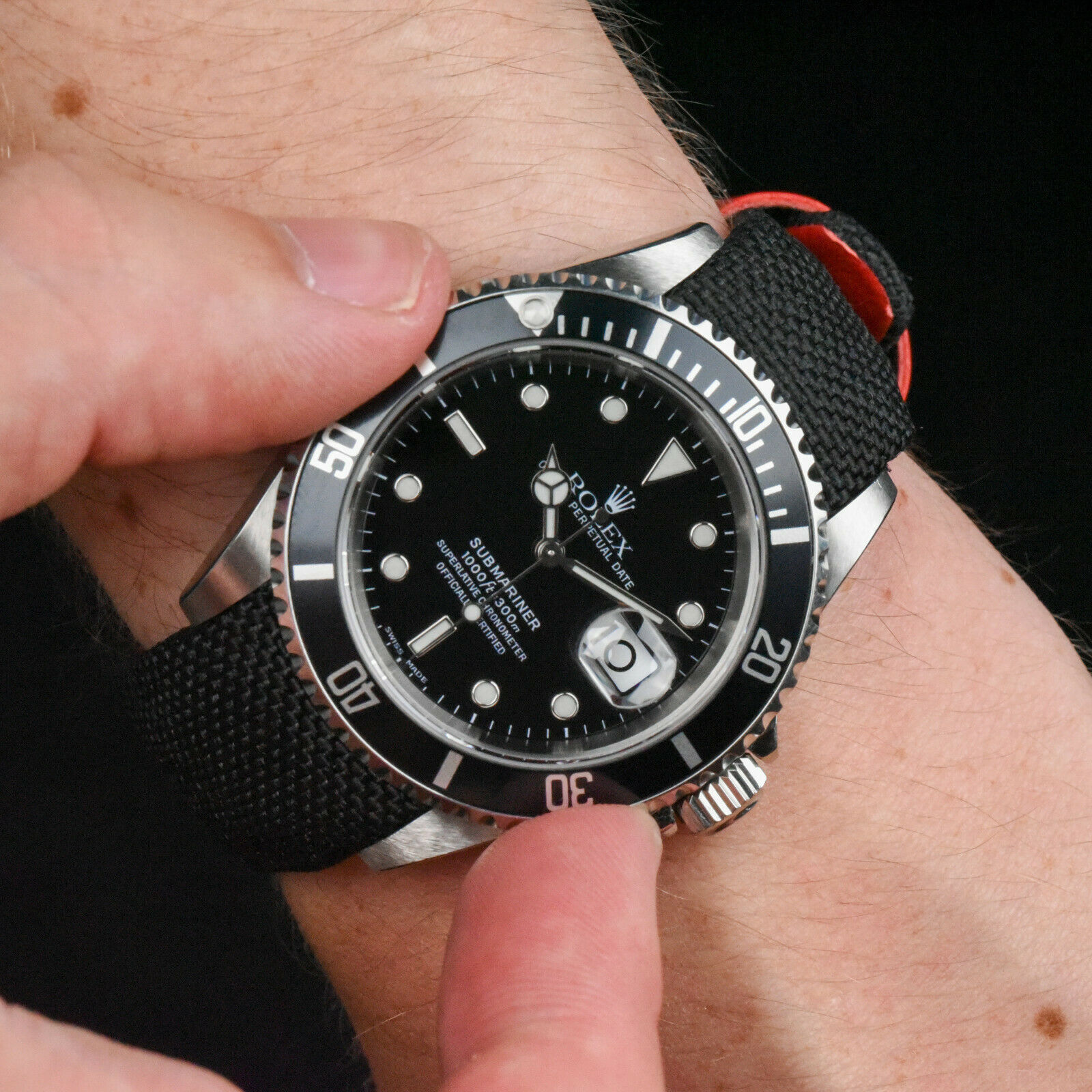Everest Nylon in Black and Red on Rolex Sub   https://www.watchvault.com.au/strapstore/everest-curved-end-nylon-strap-for-rolex-with-tang-buckle