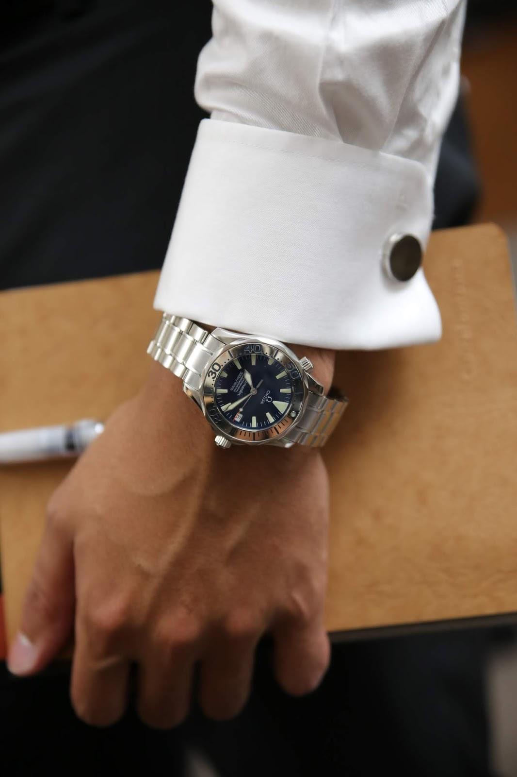 Omega Seamaster Electric Blue wrist.JPG