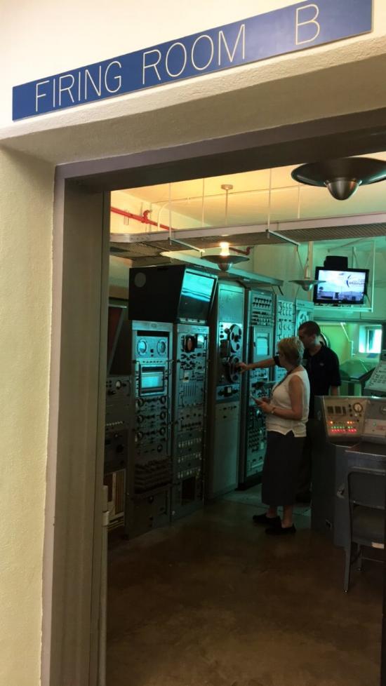 Sue and I examine the consoles in the blockhouse of LC-26. (Photo: Jillian Gloria)