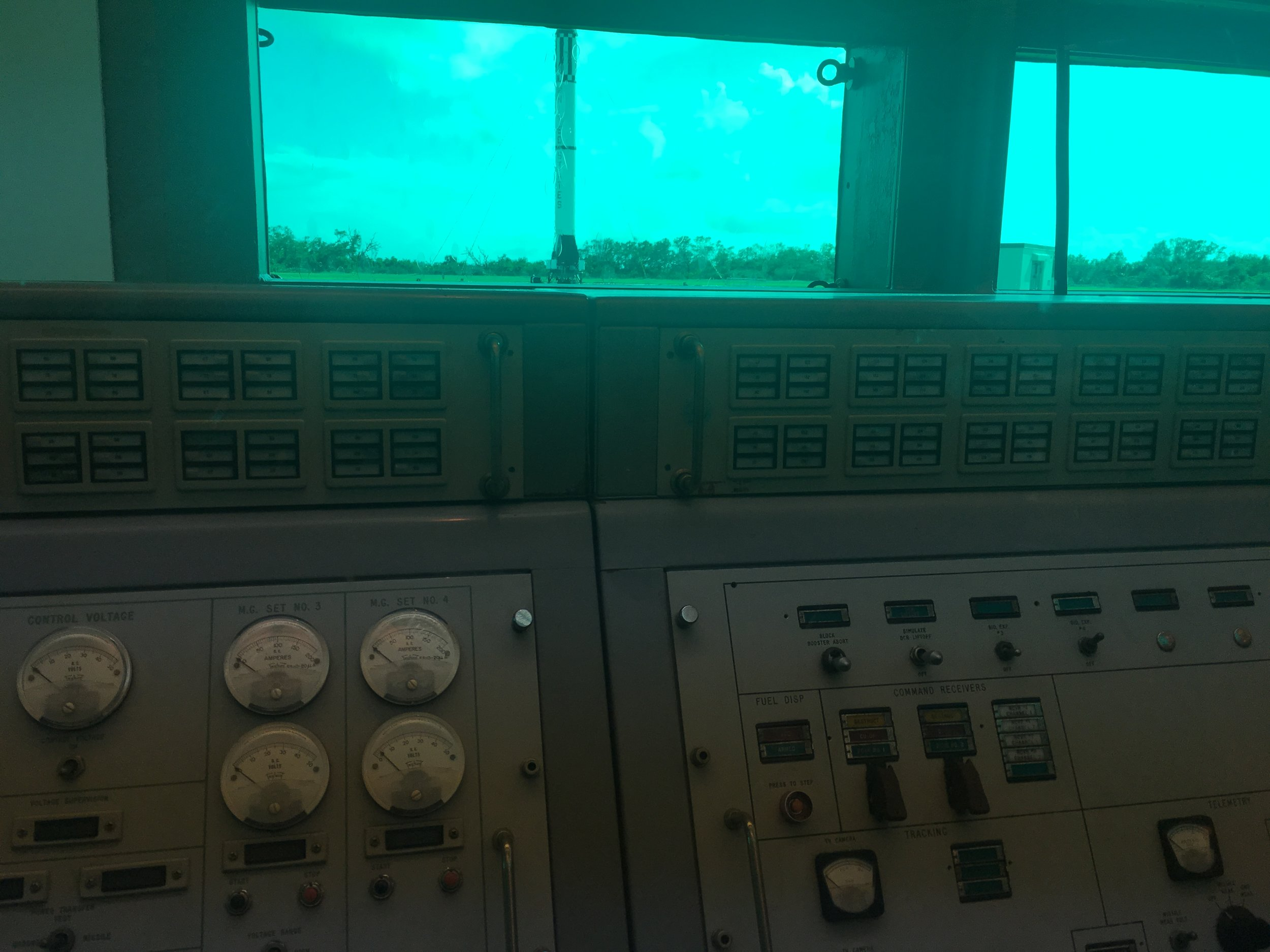 The launchpad seen from the safety of the firing room. The exact sight launch controllers saw.