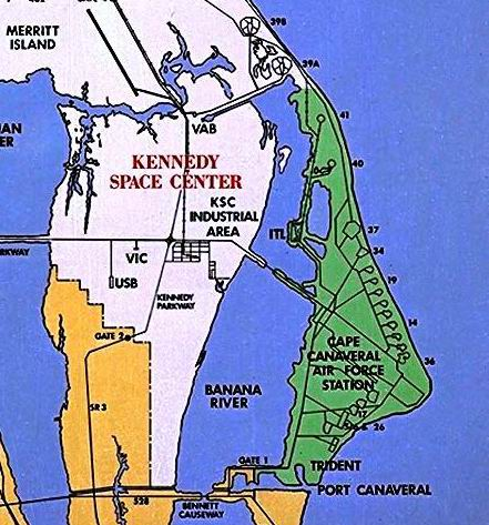 KSC (white) and CCAFS (green), with notable launchpads numbered (Photo: NASA)
