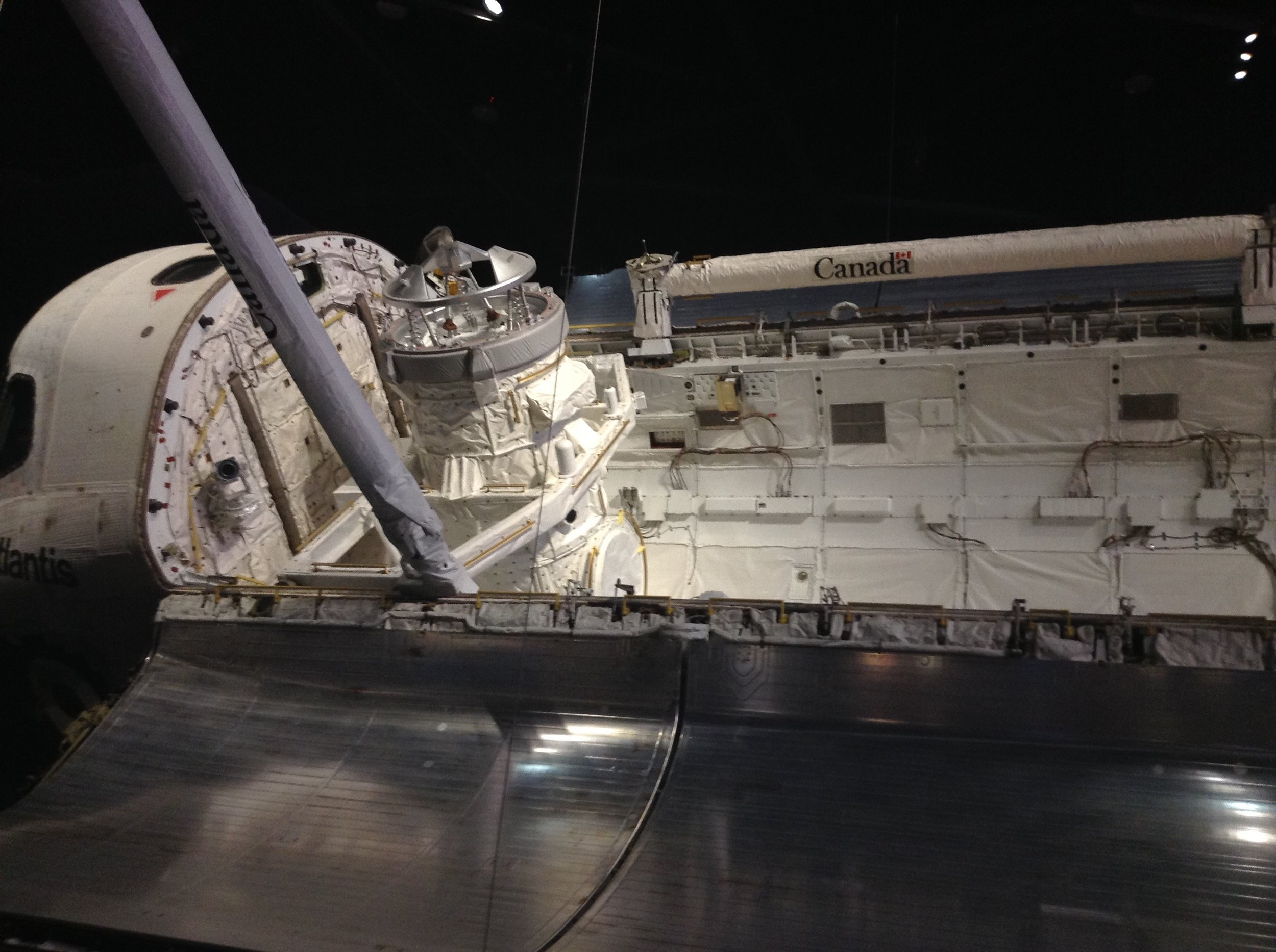 Atlantis's payload bay seen on permanent display at Kennedy Space Center.
