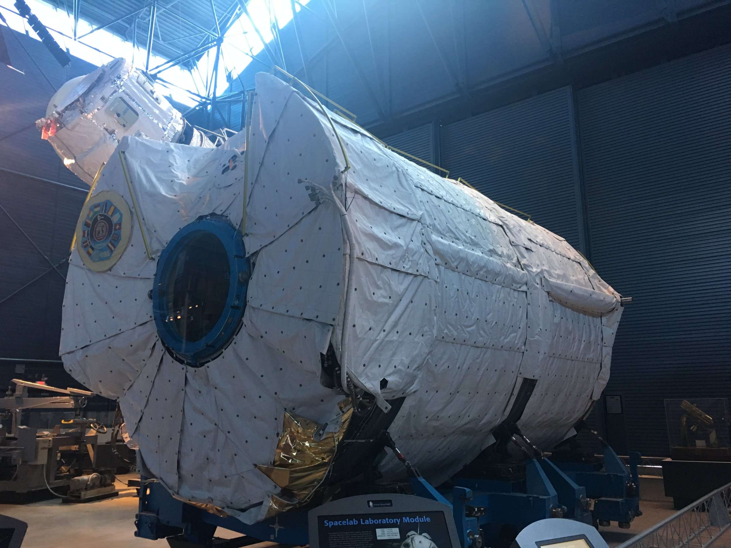 One of ESA's reusable Spacelab modules, LM-1, on display at the Smithsonian's Udvar-Hazy center. This laboratory, which fits in the Shuttle's payload bay, performed groundbreaking science in orbit, and was operated 24/7 on some missions. This particular module flew 9 times.