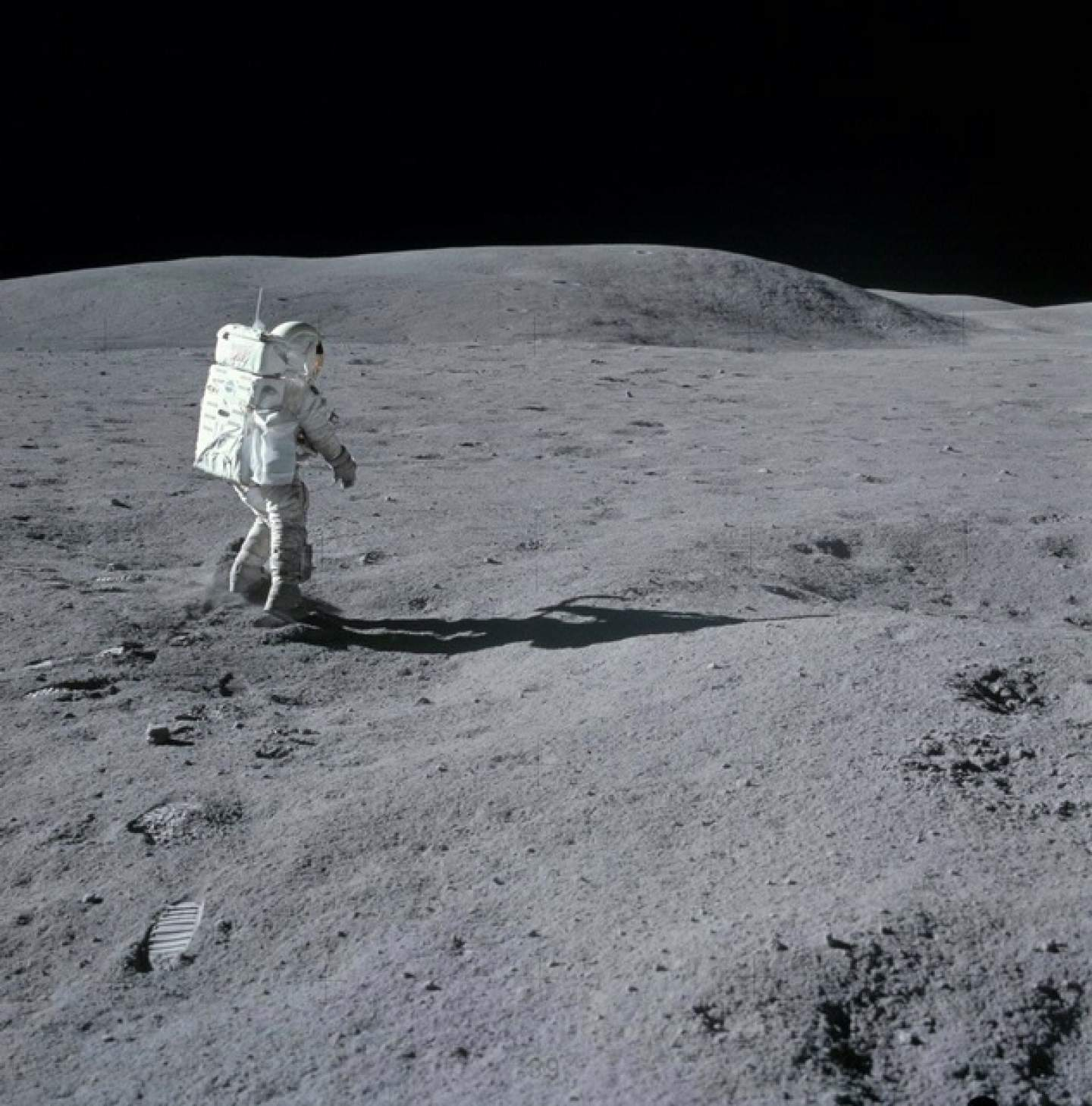Charlie Duke stands in awe of the Moon during his 3-day visit there in 1972. (NASA: AS16-114-18427)