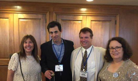 Josh Singer and Mark Armstrong pose with Space Hipsters Kathy Brown and Lois Huneycutt at the Banquet. (Photo: Lois Huneycutt)