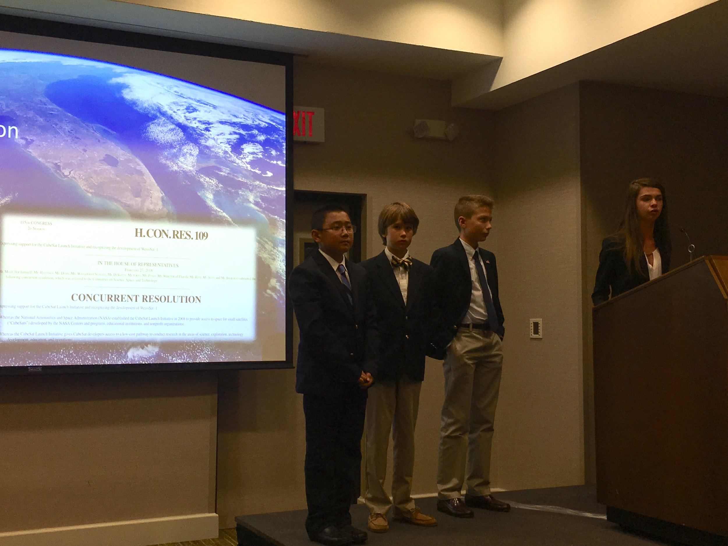 Weiss students present on their CubeSat.