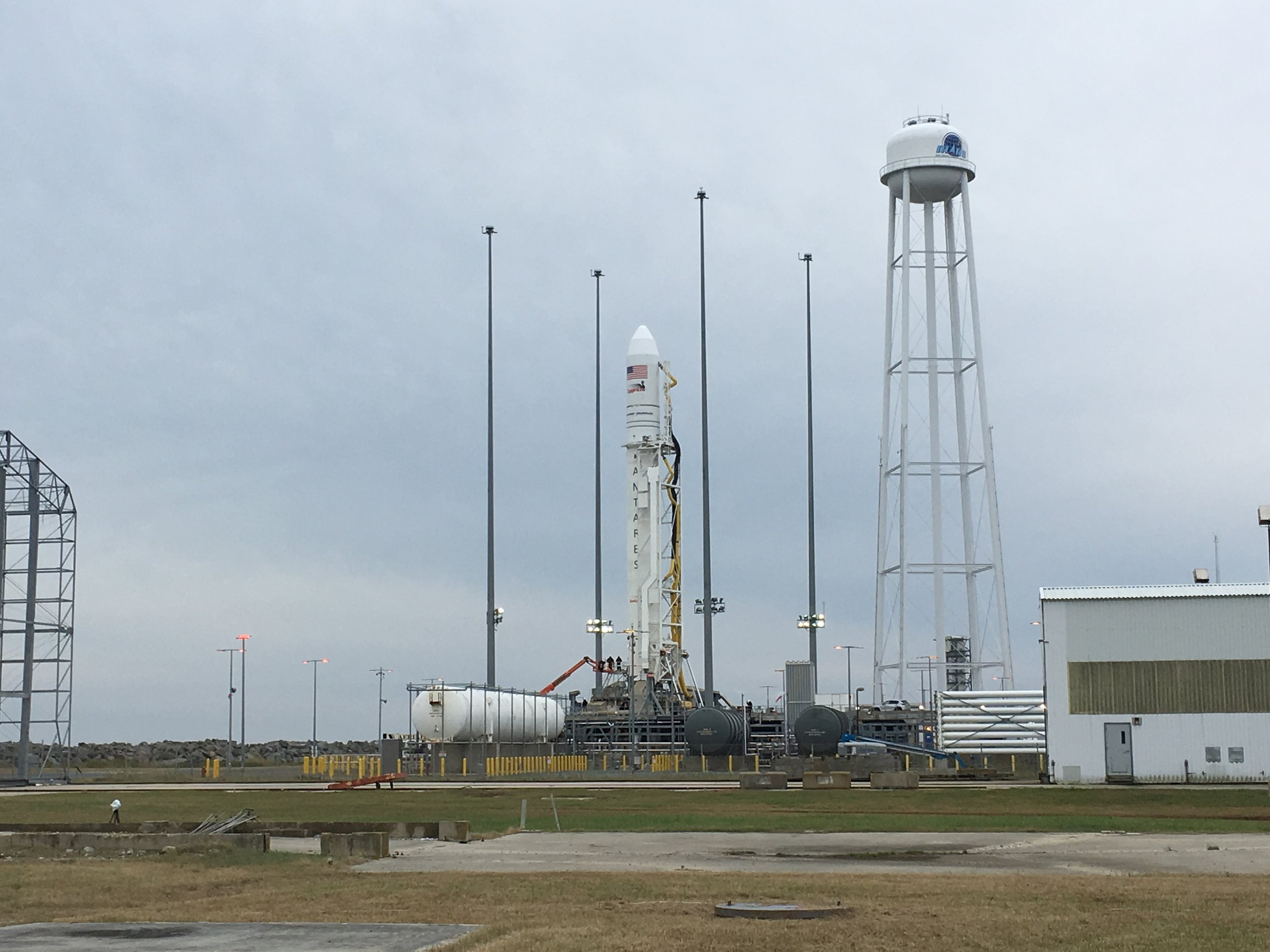 The NG-10 Antares being readied for departure from Pad 0-A at MARS.