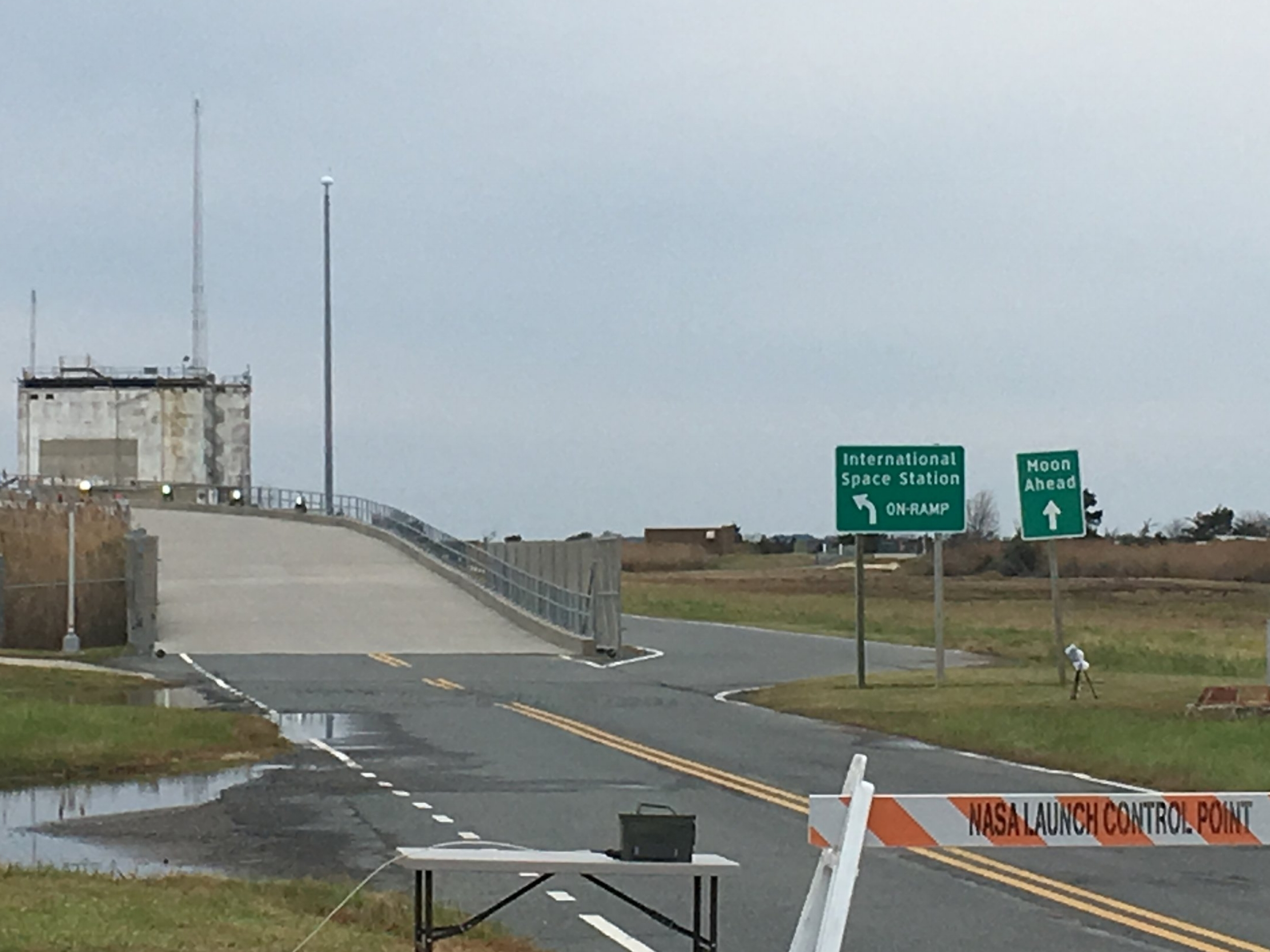 """The famous """"ISS On Ramp"""" and """"Moon Ahead"""" signs."""