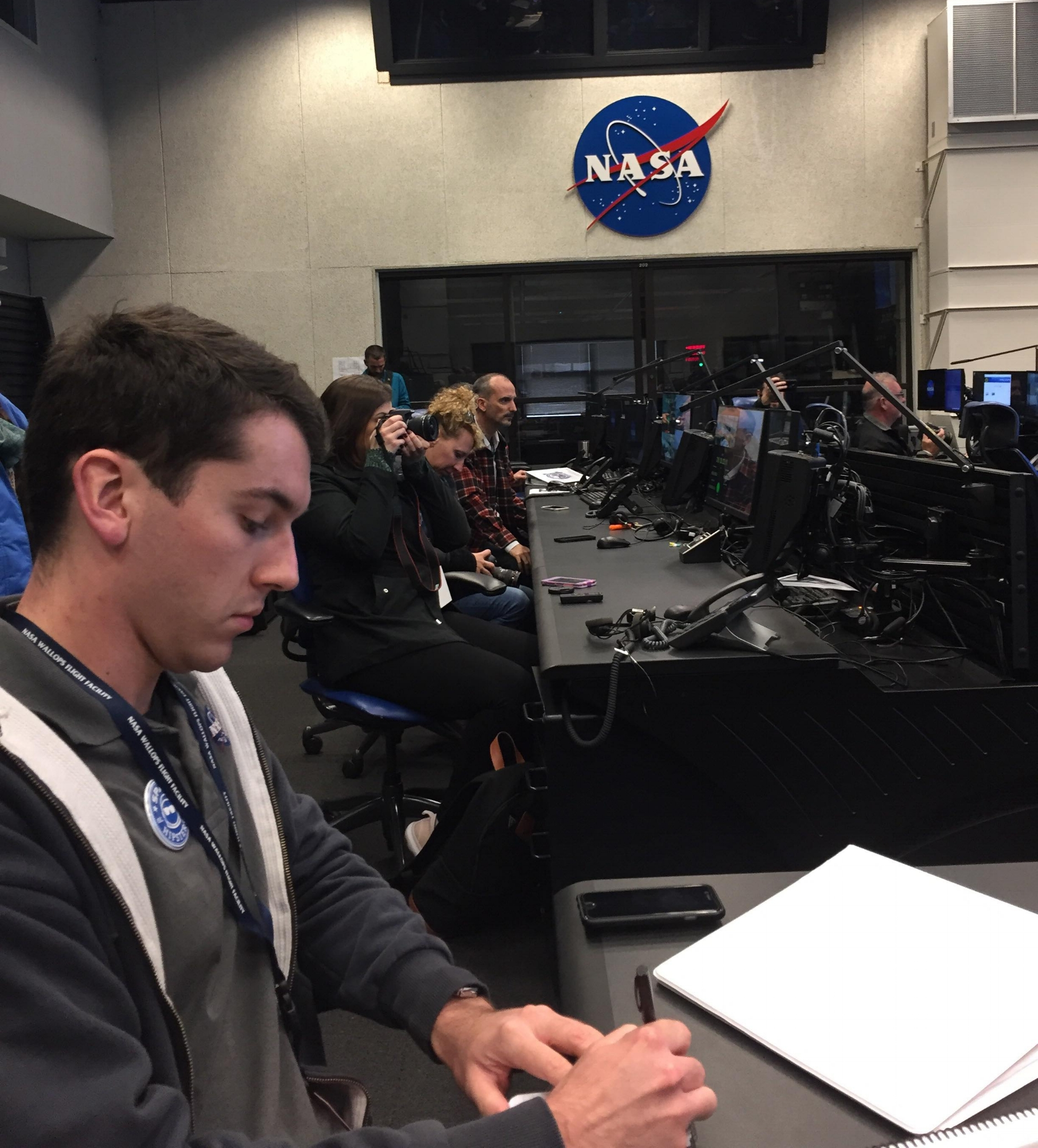 Taking notes on a flight controller's desk. Fun times! (Photo: Janet Kelly Heaton)