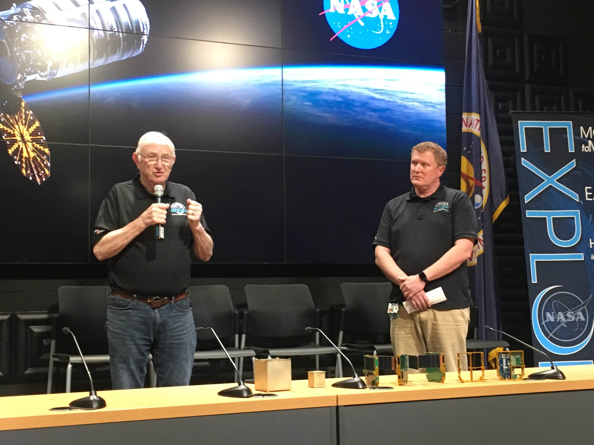 Bob Twiggs, ThinSat, Twiggs Space Lab, Morehead State University; and Chris Hale, ThinSat, Virginia Space.