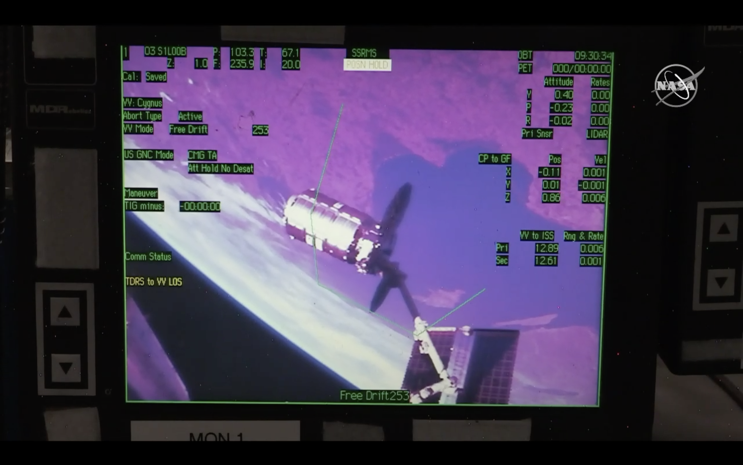 NG-11 arrives at the ISS with a smooth capture at 5:30am EDT, seen on the station's onboard monitors. (Image: NASA TV)