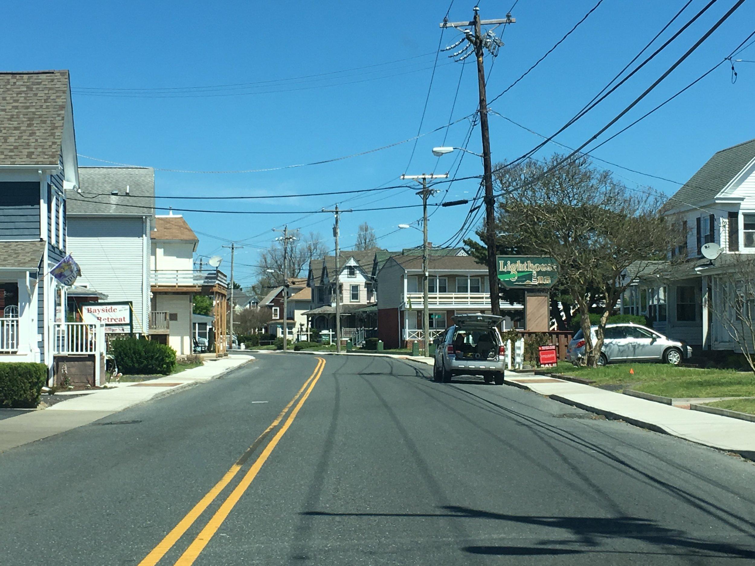 A typical street on Chincoteague Island, VA.