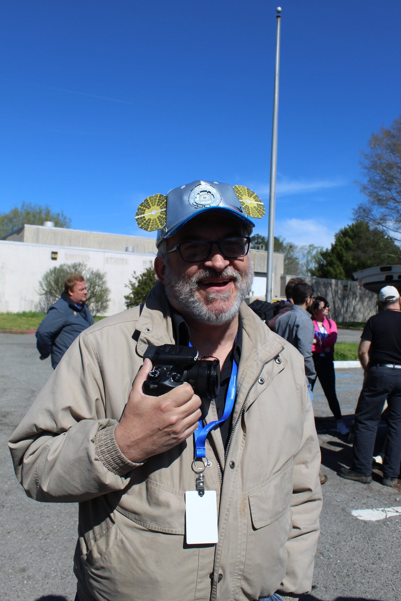 Photographer Mark Usciak sporting the Cygnus cap we received in the NG-11 press kit. (Photo: Jean Wright)