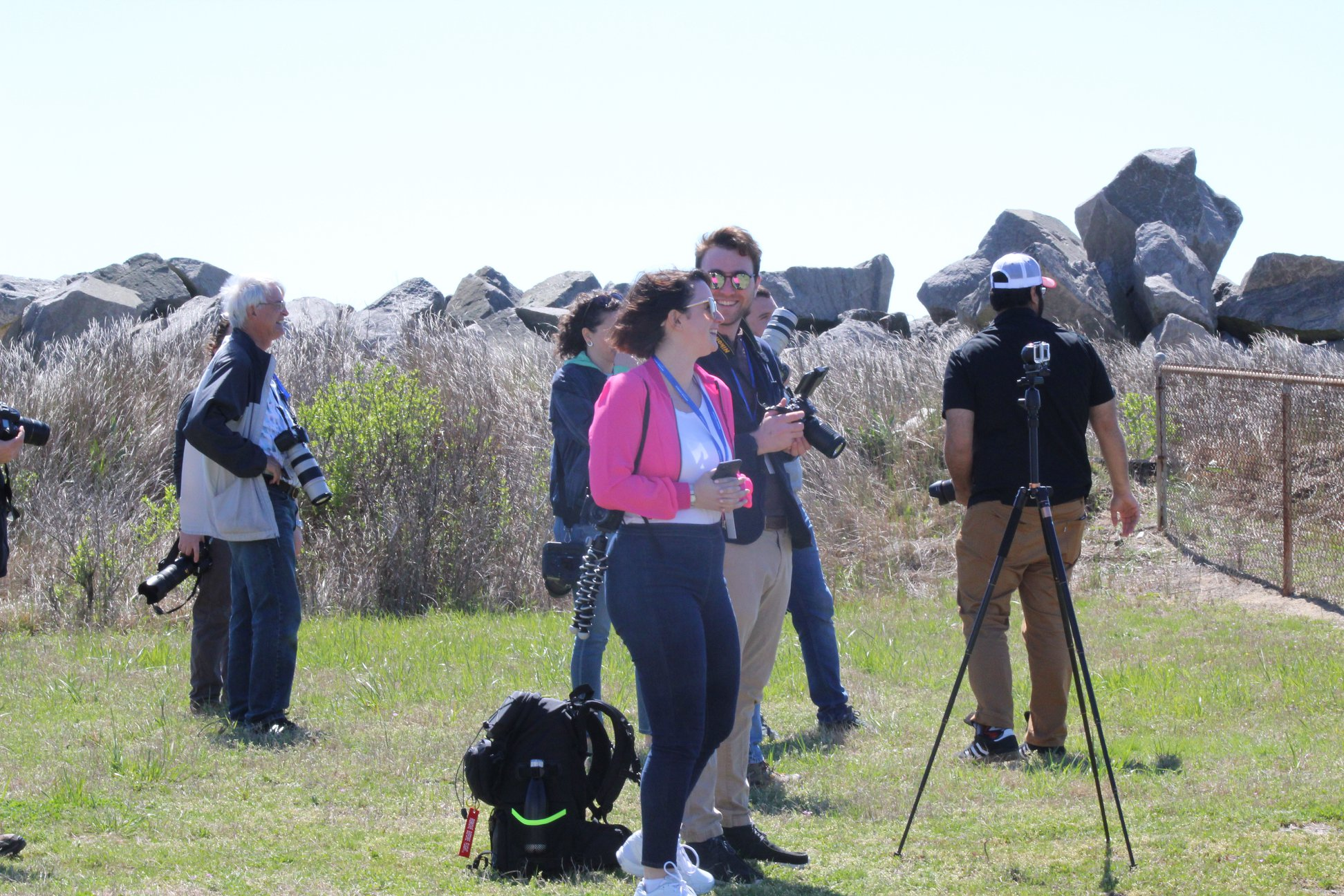 Photographers arriving at the press site to begin NG-11 launch coverage. (Photo: Jean Wright)