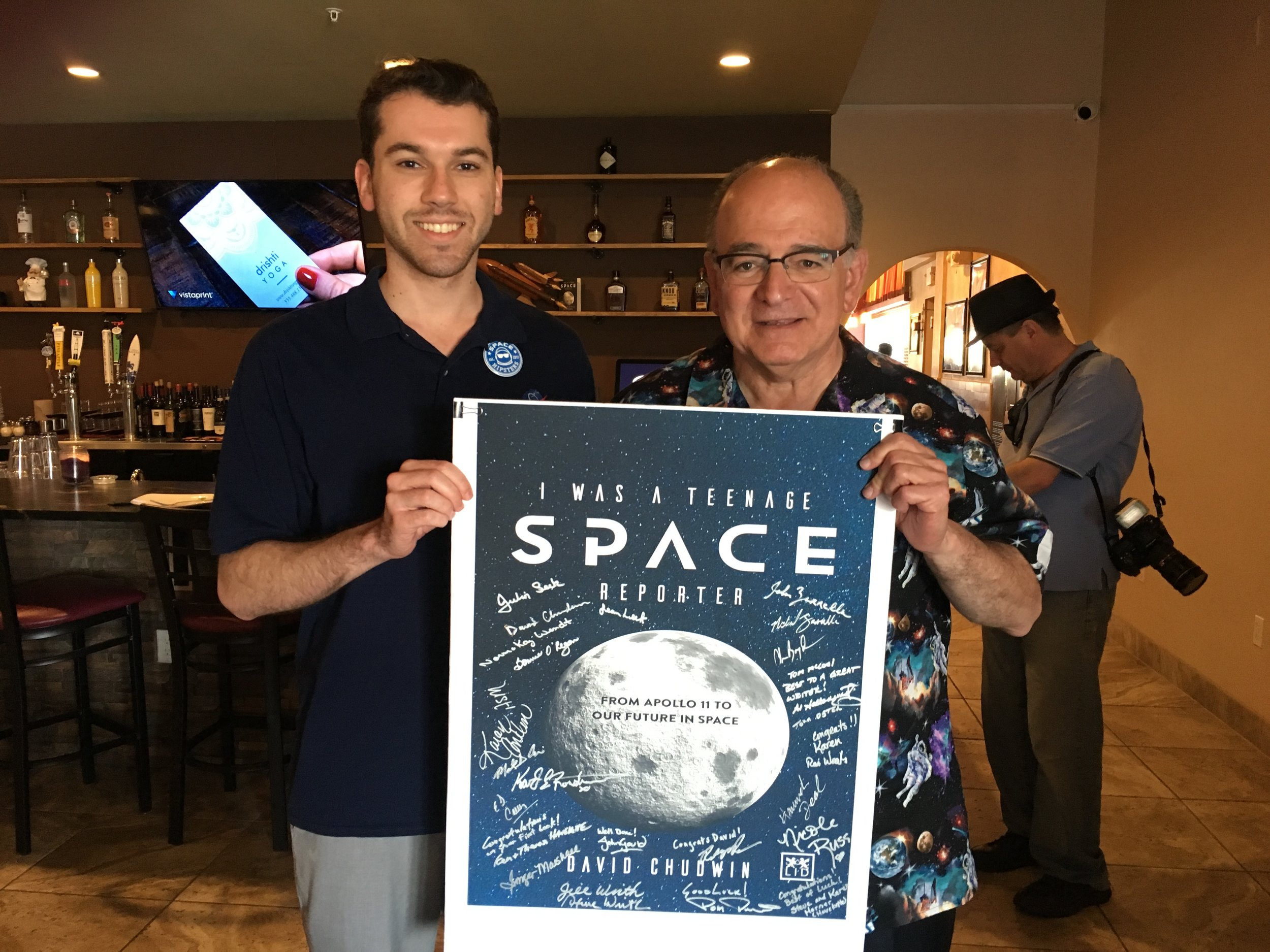 David Chudwin with the Author at the Space Coast book release party, attended by over a dozen spaceflight figures and friends at the famed restaurant, Zarrella's.