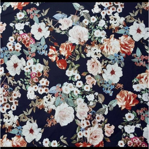 - Material:Cotton sateen with a bit of stretch, gorgeous floral print featuring dusty pink, baby blue and white flowers. Unlined in a 6oz. weight.98% Vintage Cotton, 2% LycraMade in USA | Limited Edition