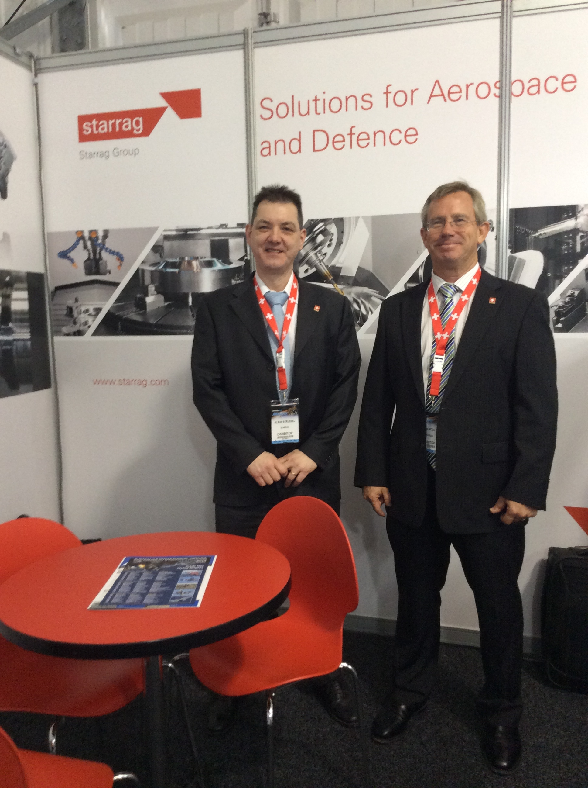 Klaus Struebel (Starrag Group) with Ian Nicol (Machine Tool Solutions) at the Avalon Air Show, 2015