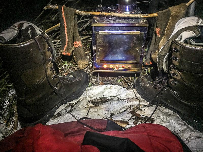 Crispi Hunter GTX Boots ,  First Lite Mountain Athlete Compression Socks  & Seek Outside Titanium Wood Stove (Med)