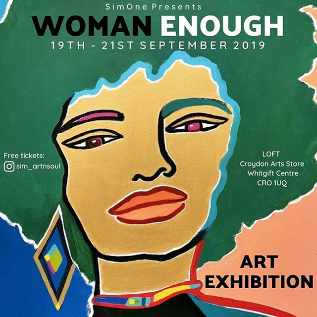 Tomorrow night, @sim_artnsoul's solo exhibition 'Woman Enough' opens in LOFT 🎨🎨 A series of dominant and vibrant colour portraits will headline the show; the bold paintings exemplify the Woman Enough concept by rejecting the need to complicate or do more to be enough. Join us from 5-8pm tomorrow, Thursday 19th September, for the private view and launch party 💃🏻 the exhibition continues Friday and Saturday 11-5