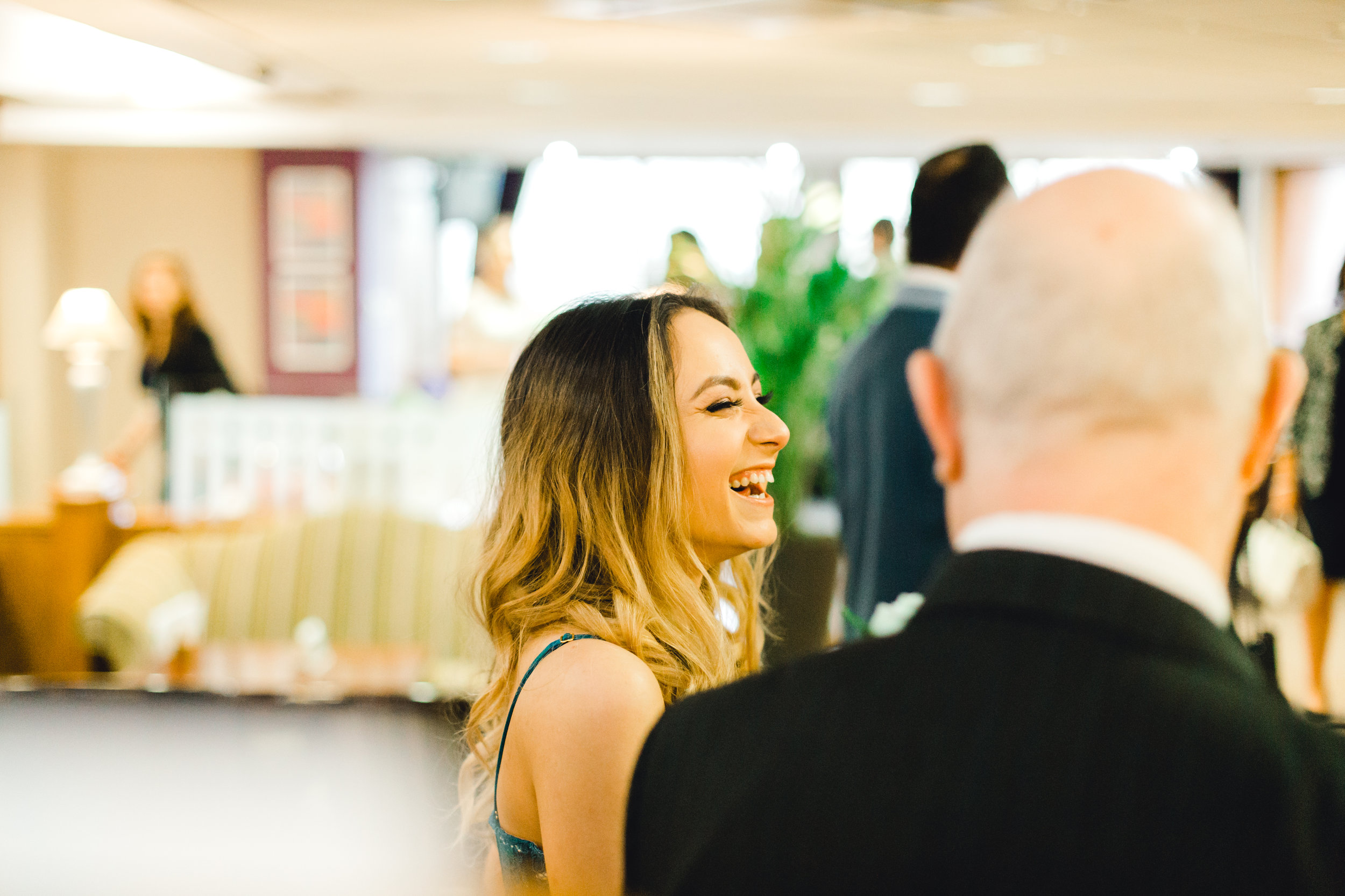 Guest interactions during cocktail hour at weddings