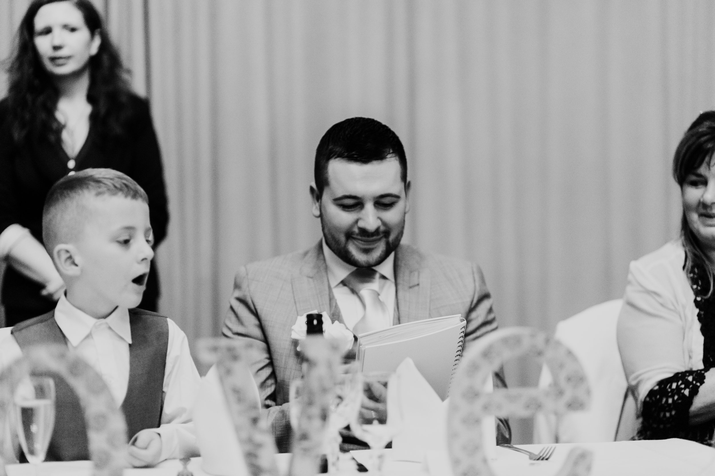 Reaction to getting a hand-made gift during wedding speeches