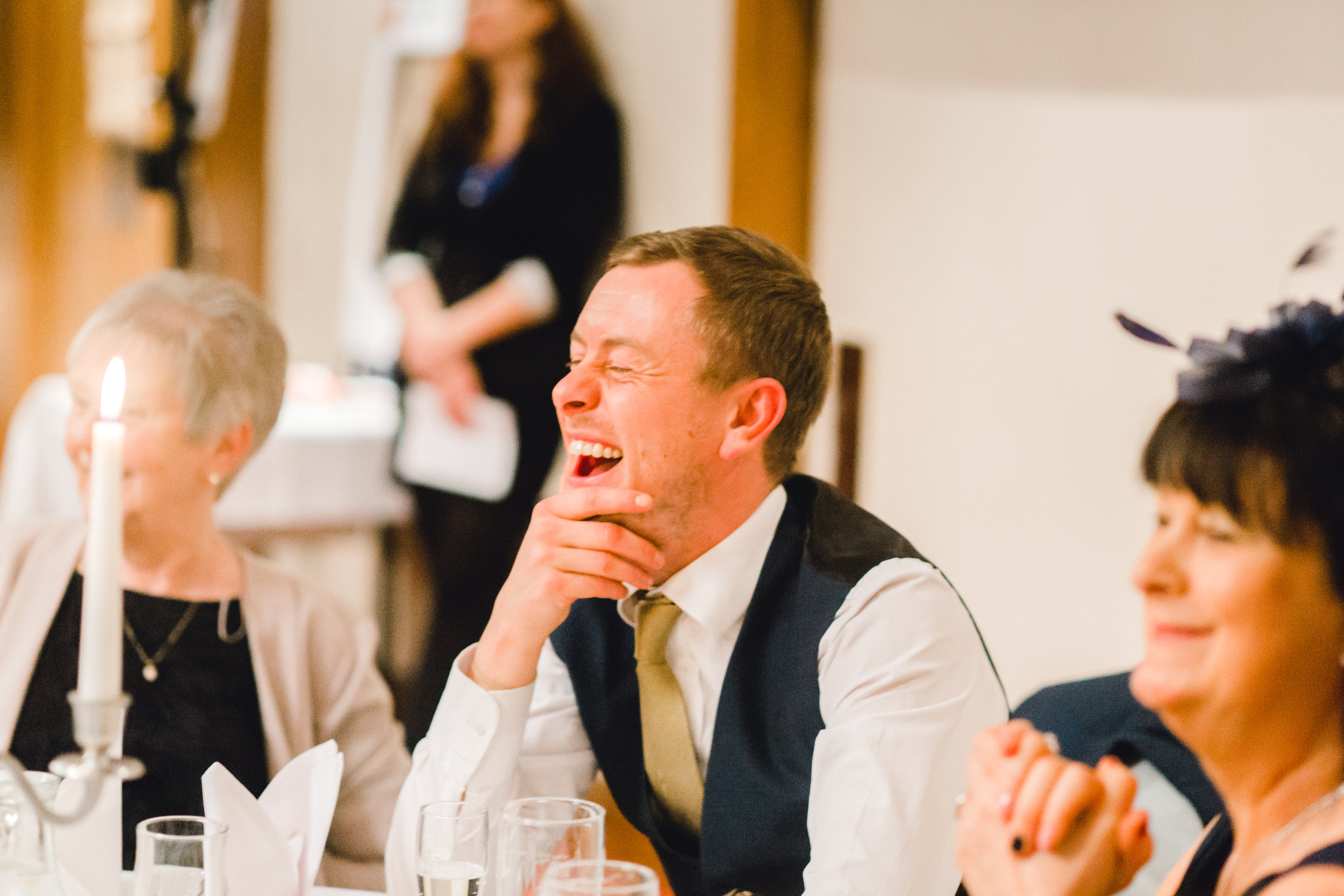 Wedding guest reaction during speeches