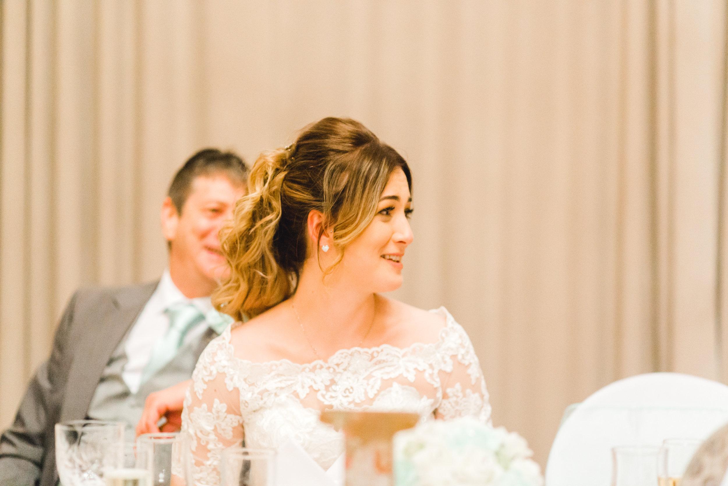 Brides reaction during wedding speeches