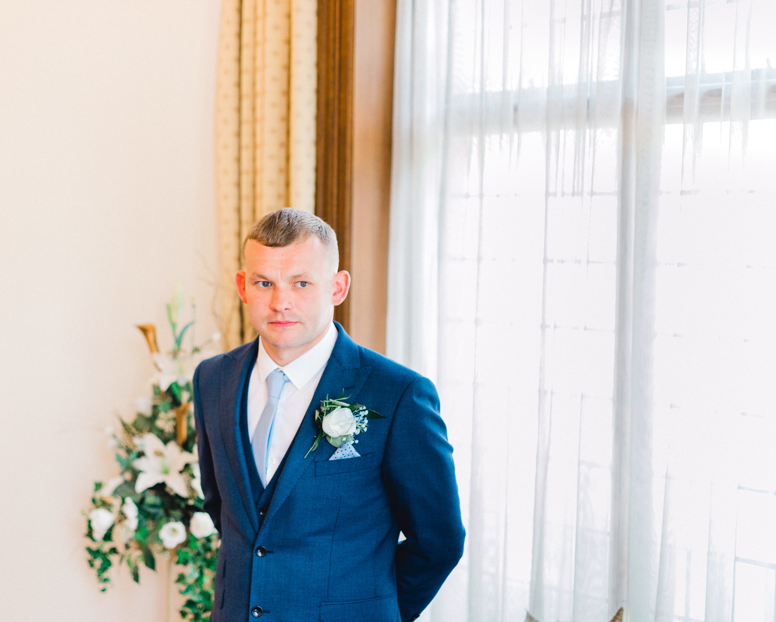 nervous groom waiting for the bride during wedding ceremony